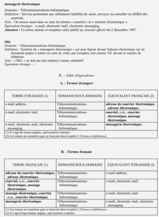 Journal Officiel Du 20 Juin 2003 Pour Lemploi Mot COURRIEL