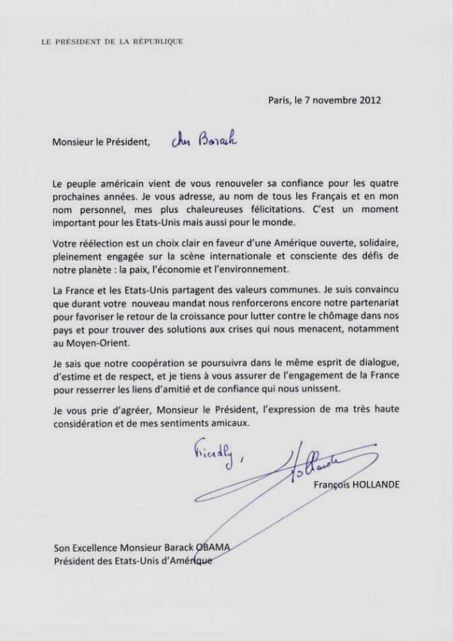 formule de politesse lettre italien La faute de François Hollande dans son courrier de félicitations à  formule de politesse lettre italien