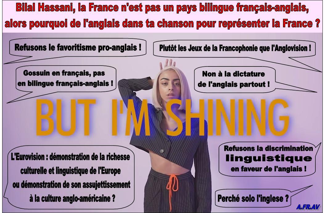 non au bilinguisme français-anglais de Bilal Hassani à l'Eurovision