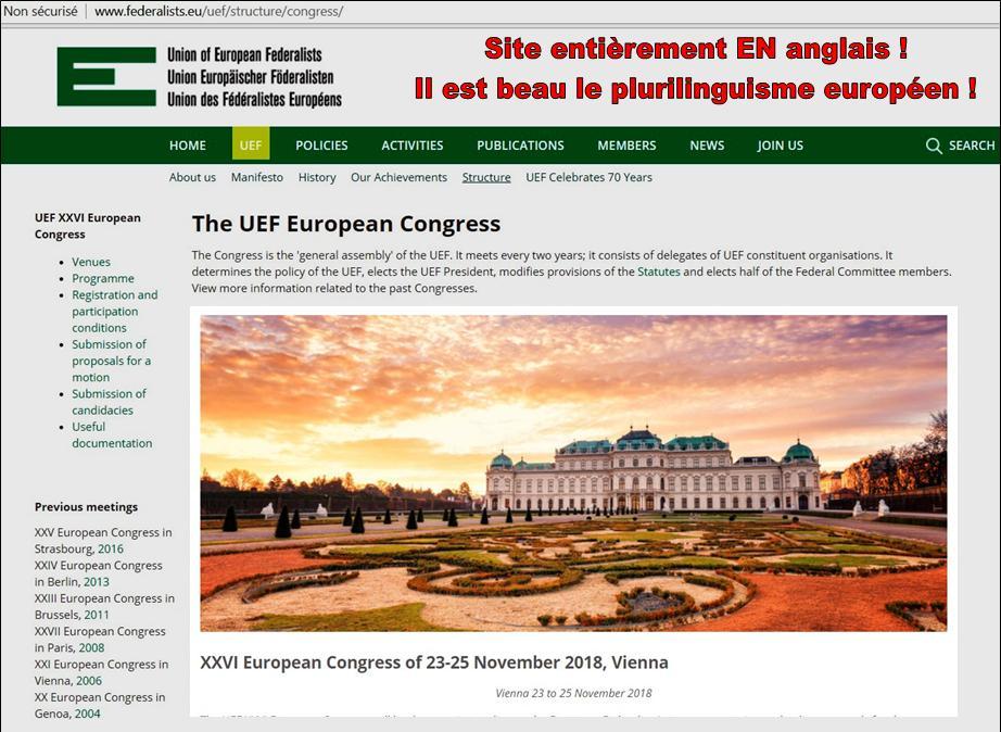 L'Union des Fédéralistes européens ou l'anglomanie européenne !